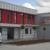 Oznakowanie budynku firmy DROBUD kasetonami swietlnymi z dibondu o efekcie aluminium szczotkowane