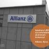 Kaseton z kompozytu aluminiowego (dibond) z fakturą drapanego aluminium. Podświetlenie ekonomiczne-diody LED. Oznakowanie budynku oddziału Allianz Nysa. Advert Studio.