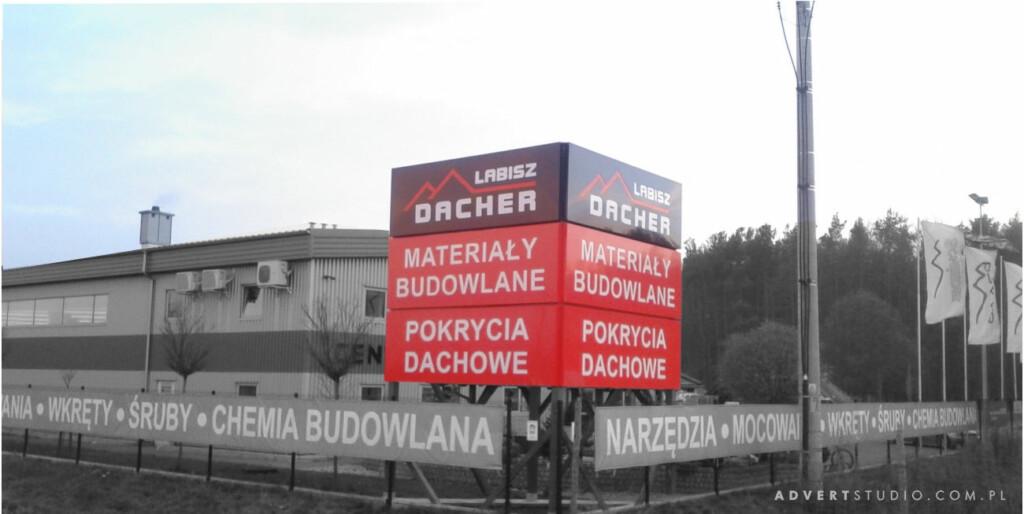 Totem -Pylon reklamowy - Centrum budowlane Dacher Labisz Chrzastowice