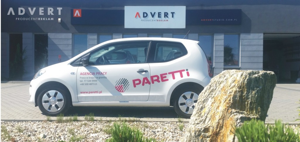 oklejenie auta agencji pracy Paretti - ADVERT REKLAMA OPOLE
