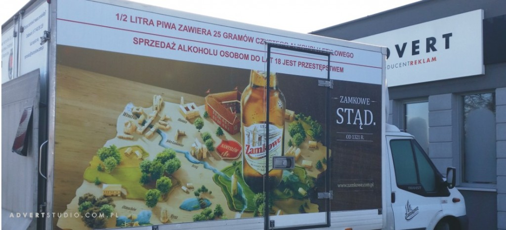 oklejenie kontenera dostawczego Browar Namyslow-advert
