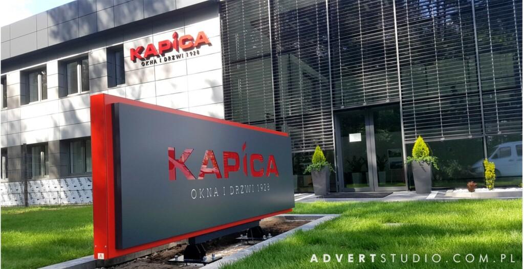 oznakowanie firmy Kapica - pylon wizerunkowy LED advert opole