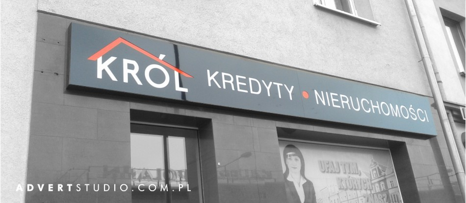 Kaseton podswietlany LED dla Nieruchomosci KROL - producent reklam advert opole
