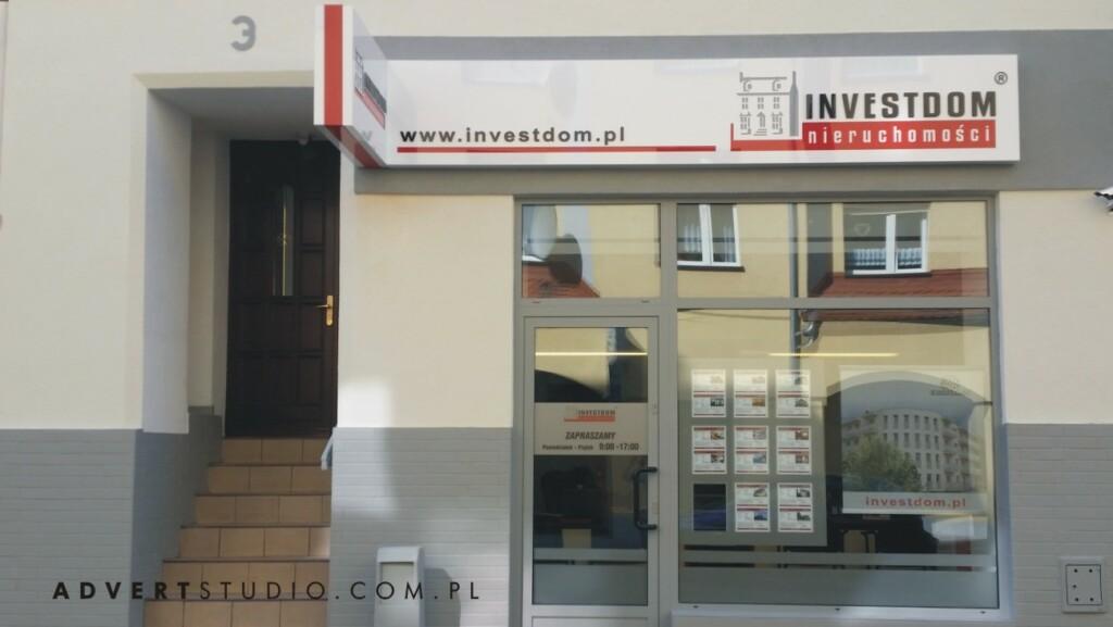 oznakowanie biura nieruchomosci Investdom - advert reklama Opole