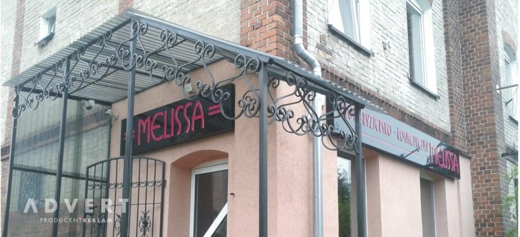 oznakowanie salonu fryzjerskiego i kosmetycznego Melissa- advert producent reklam
