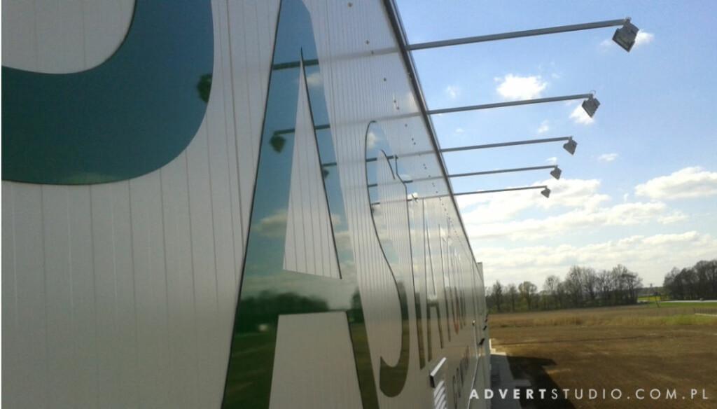 Litery z aluminium kompozytowego plaskie na fabryce Pasta Food w Opolu.Advert PRODUCENT REKLAM