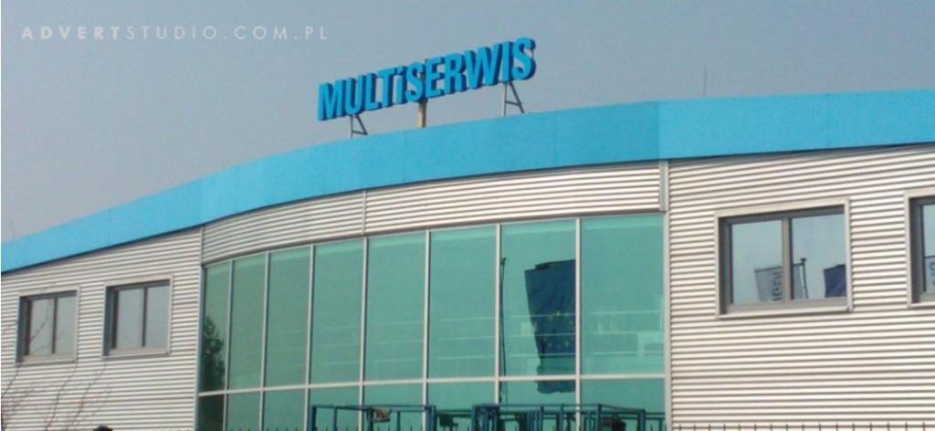 Multiserwis. Oznakowanie obiektu Multiserwis w Krapkowicach.Advert-producent reklam