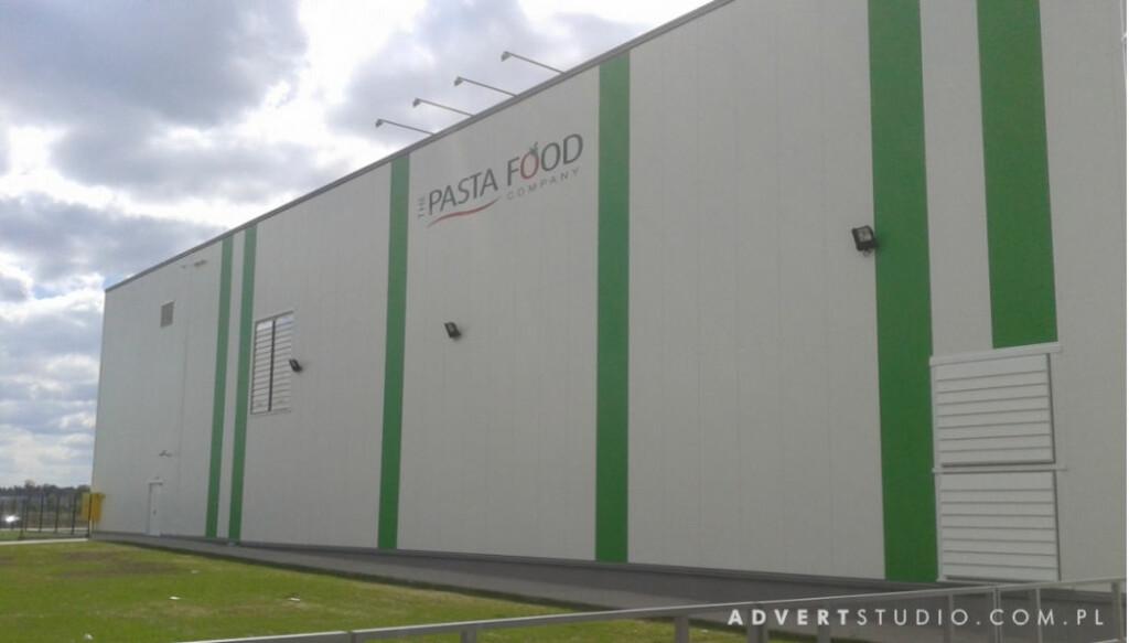 Oznakowanie fabryki Pasta Food w znak firmowy. Advert Reklama