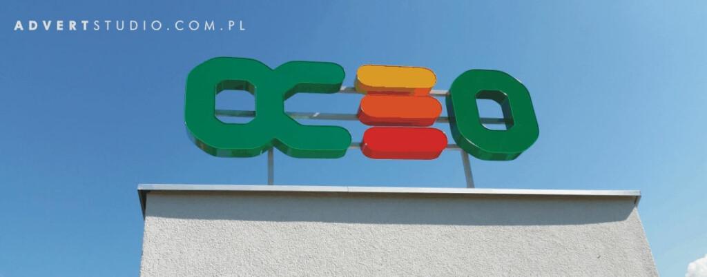 Litery swietlne na konstrukcji na dachowej -Opolskie Centrum Energii Odnawialenj - Advert Reklama-producent reklam