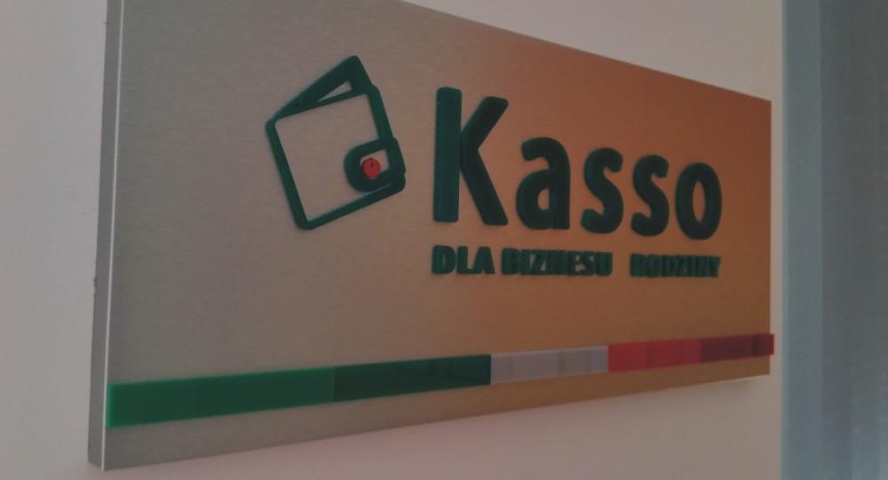 Tablica z logo Kasso- Advert reklama