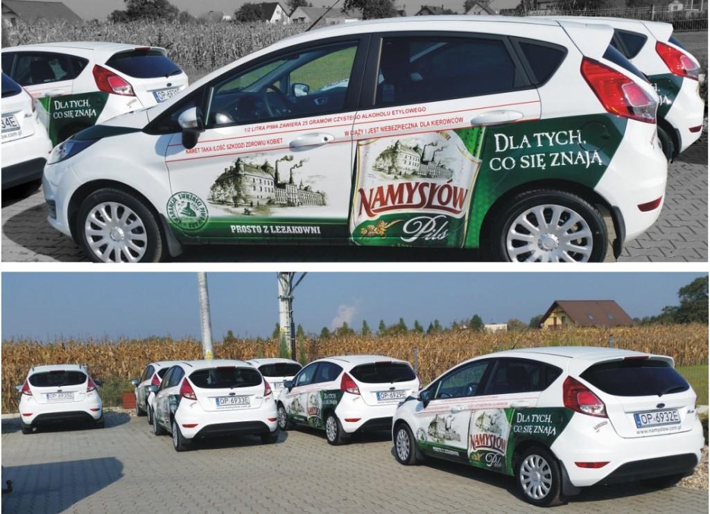 oklejenie aut Browaru Namzslow+ reklama Advert Opole