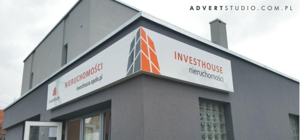 Szyld podswietlany Biura Nieruchomosci - advert reklama