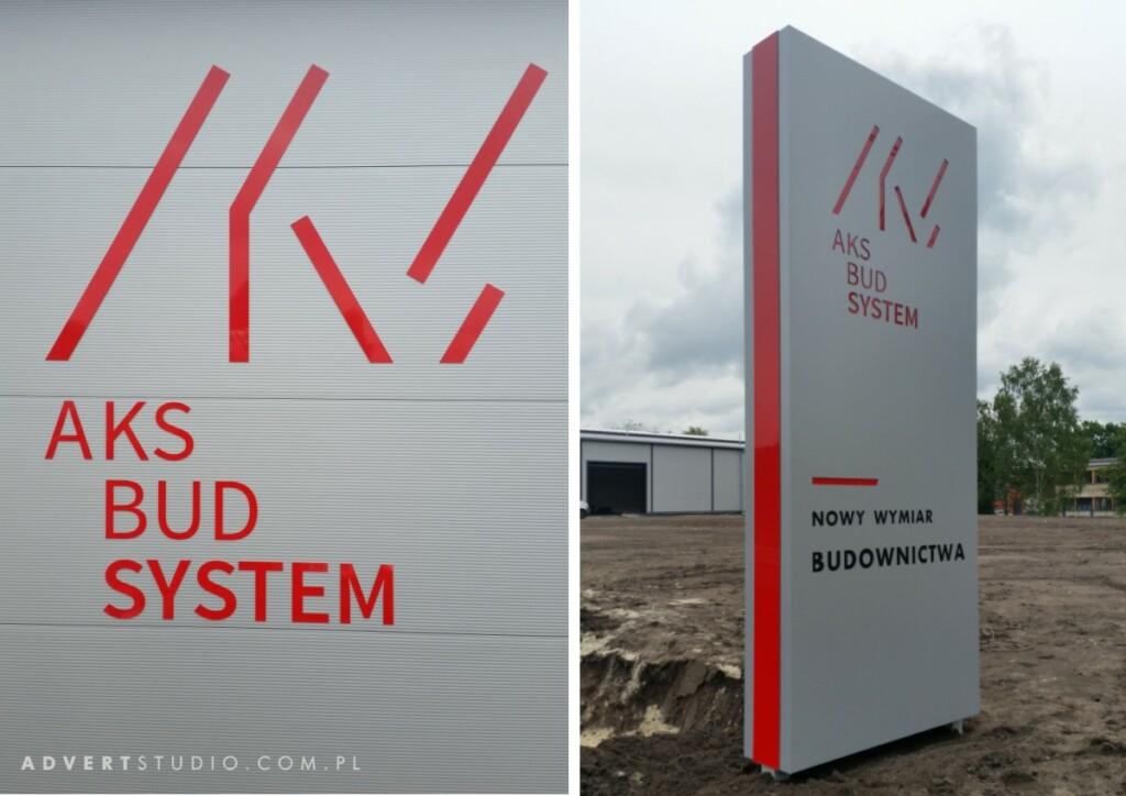 pylon wjazdowy Aks Bud System - litery na hali z aluminium kompozytowego - advert reklama