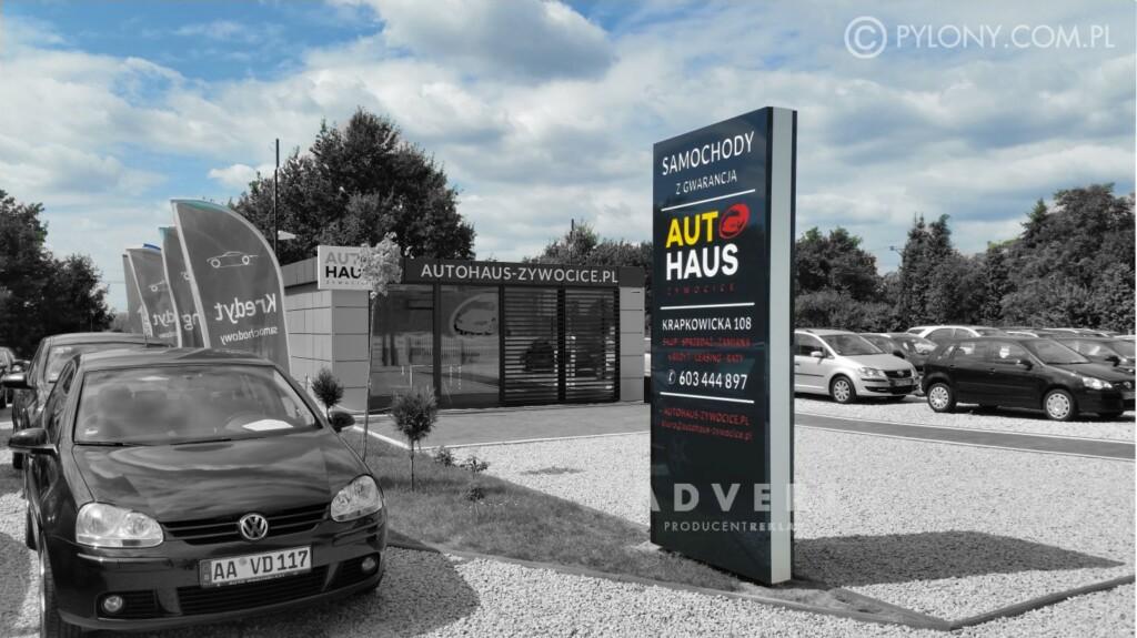 pylon reklamowy dla komisu samochodowego AUTOHAUS - reklama opole advert