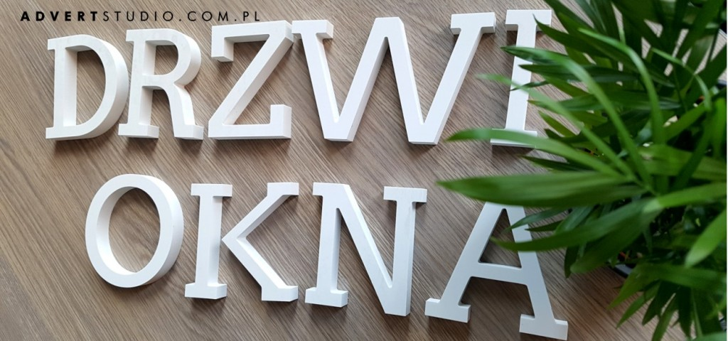 LITERY Z BIALEGO pcv - napisy logo do biura -producent advert reklama opole