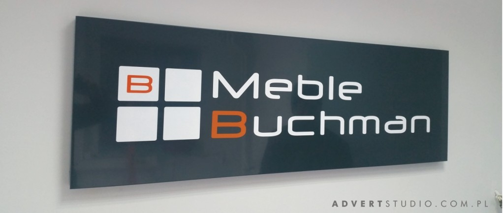 czarny szyld mebli buchman - reklama opole advert
