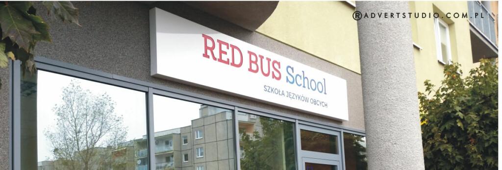 KASETON SWIETLNY SZKOLY JEZYKOW OBCYCH rED Bus school= advert reklama opole