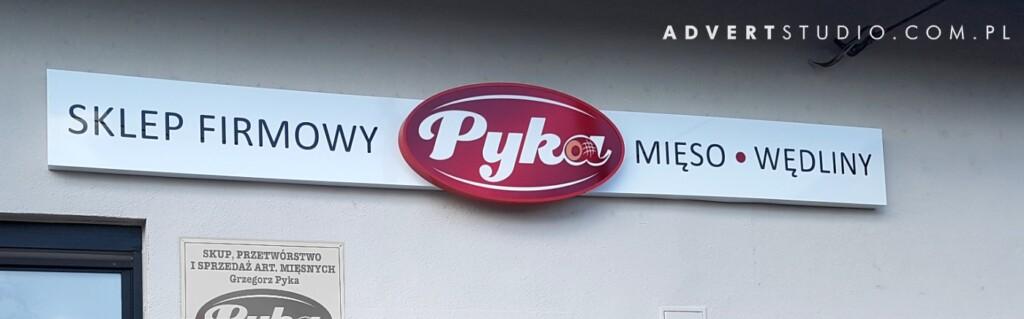SZYLD REKLAMOWY SKLEPU FIRMOWEGO MIESNEGO pYKA -PRODUCENT SOLIDNYCH kasetonow advert opole