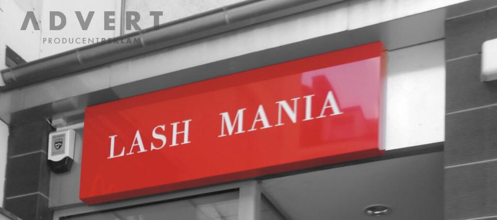szyld salonu przedluzania rzes - La Mania -producent reklam Advert
