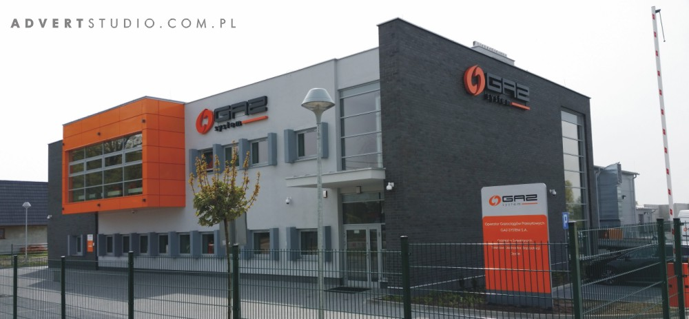 oznakowanie budynku Gaz System- Opole