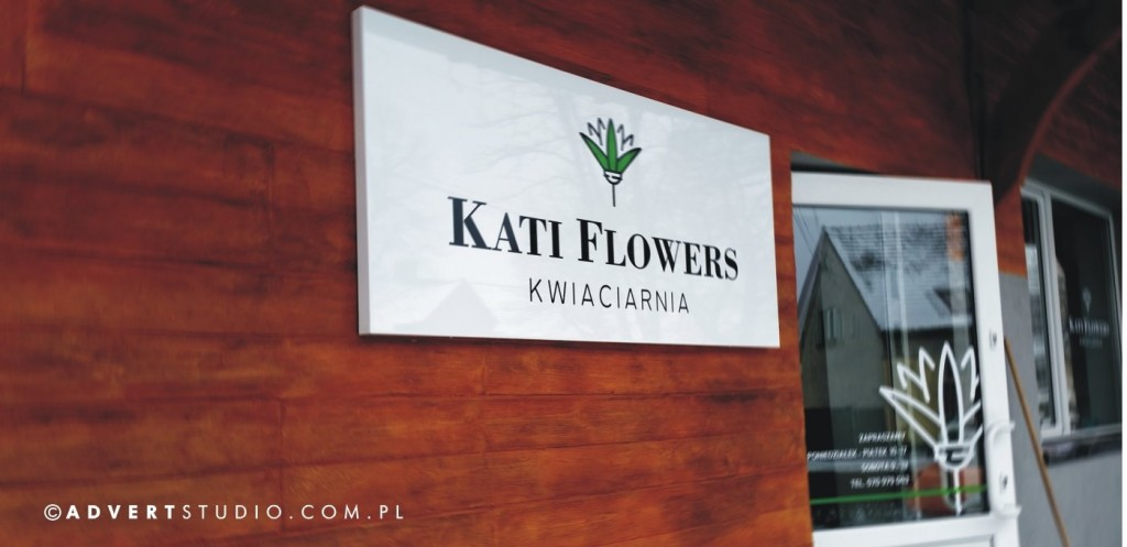 OZNAKOWANIE KWIACIARNI - REKLAMA wizualna kwiaciarni -producent reklam advert opole