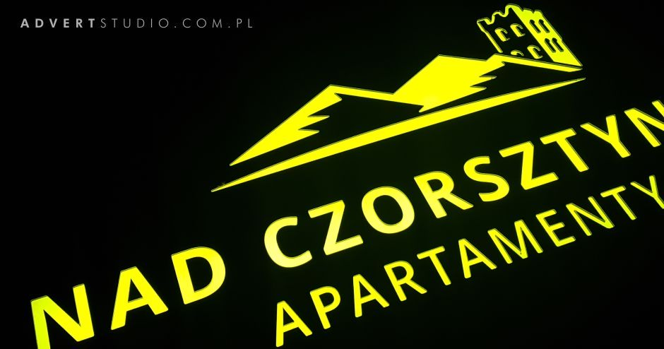 szyld świecący Apartamenty Nad Czorsztynem